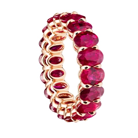 oval tower rubies eternity ring