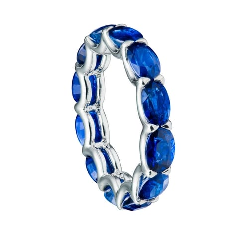 oval train blue sapphires eternity ring